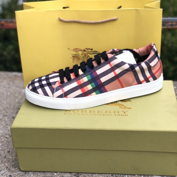 0699764bb595 Rainbow Vintage Check Sneakers. NWT. Burberry